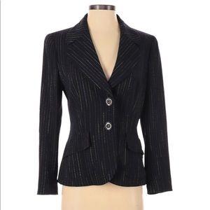 ESCADA womens wool blazer metallic striped pockets